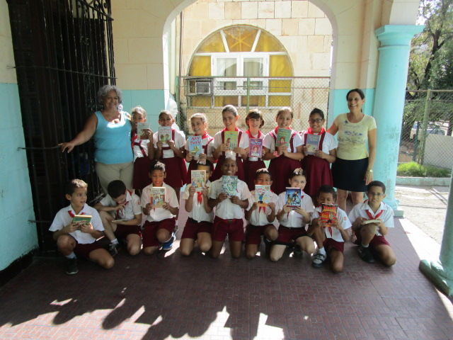 English-language book donation to Tomas Romay Chacon elementary school